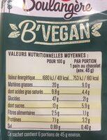 Pains au chocolat Vegan - Voedingswaarden - fr