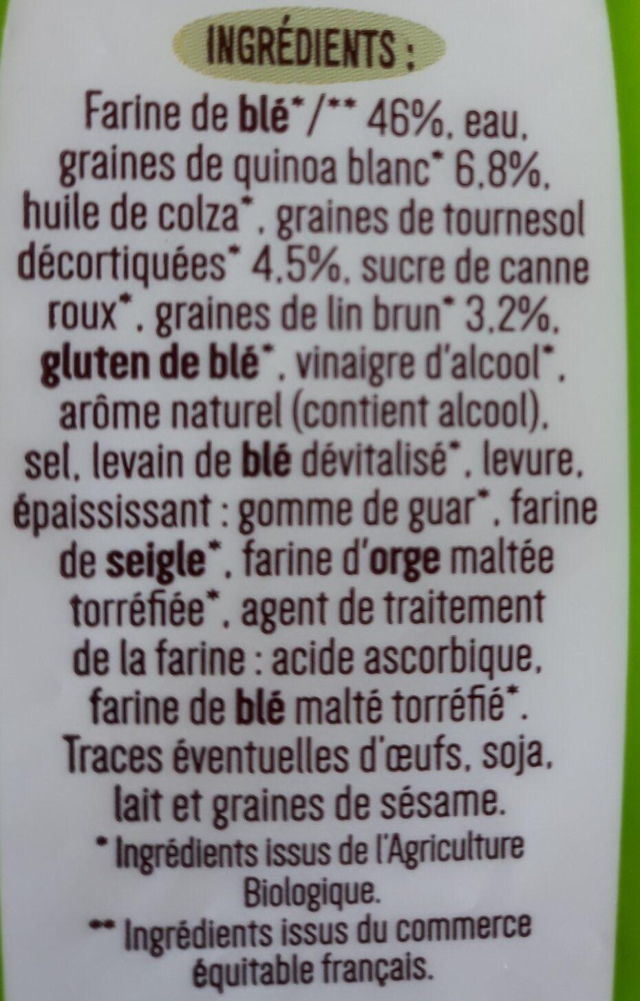 Tartines Quinoa & Graine - Ingrédients - fr