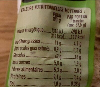 Tartines quinoa et graine - Nutrition facts - fr