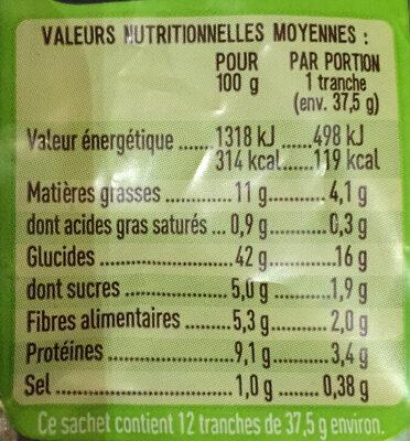 Tartines Quinoa & Graine - Informations nutritionnelles - fr
