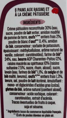 6 Pains aux raisins Pur Beurre - Ingrediënten - fr