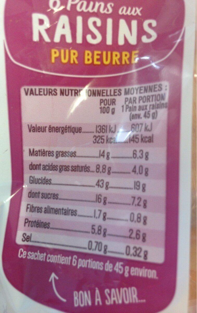 6 Pains aux raisins Pur Beurre - Voedingswaarden - fr