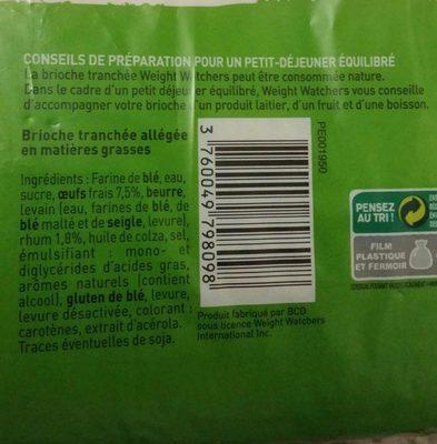 Brioche tranchée aux oeufs frais - Ingredients