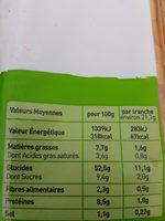 Brioche tranchée aux oeufs frais - Nutrition facts