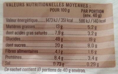 Brioche facon moelleux au chocolat - Voedingswaarden - fr
