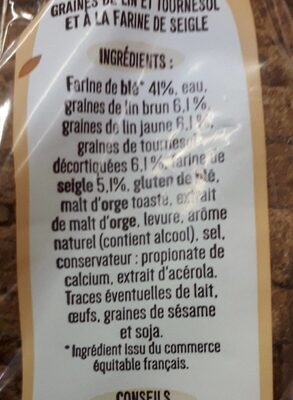Seigle et graine la boulangère - Ingredients