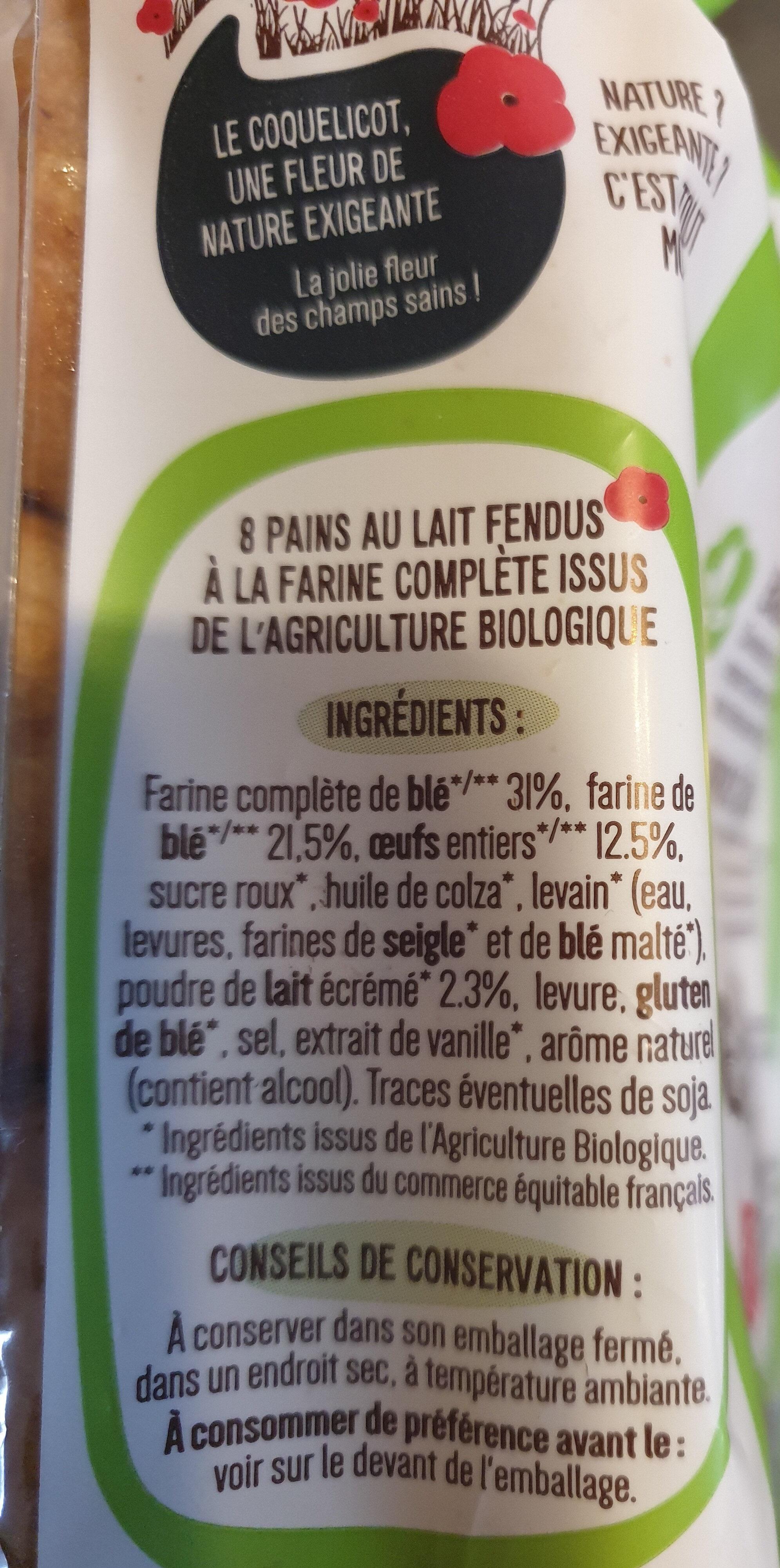 Pains au lait à la farine complète - Ingredienti - fr