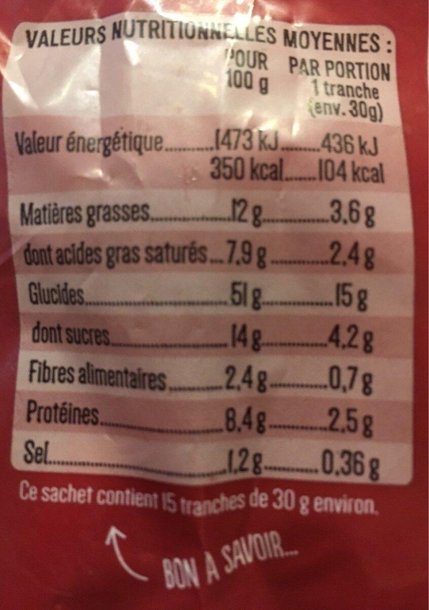 Tranchée moelleuse à la crème fraîche - Voedingswaarden - fr