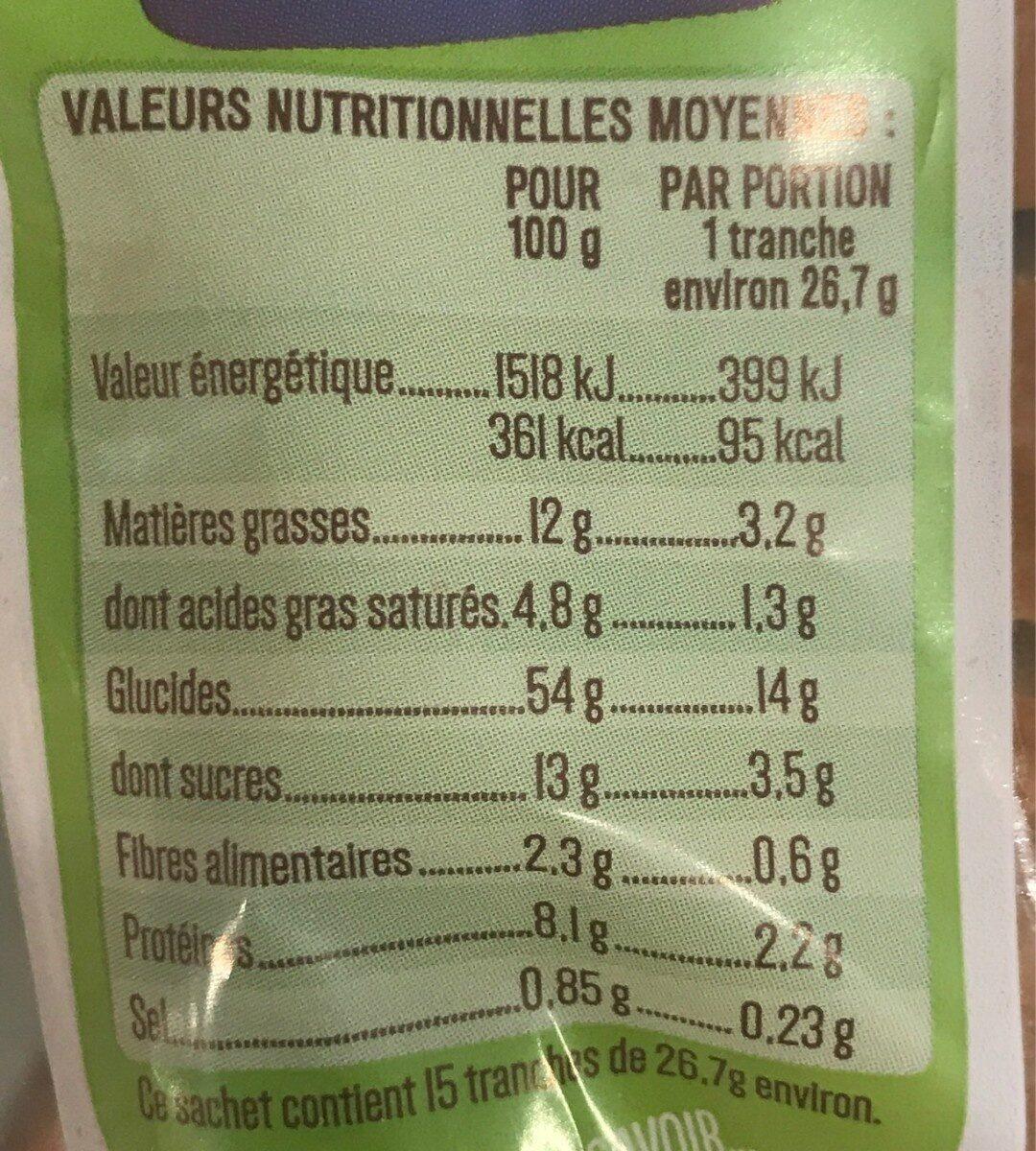Gâche tranchée rectangle BIO - 400g - Valori nutrizionali - fr