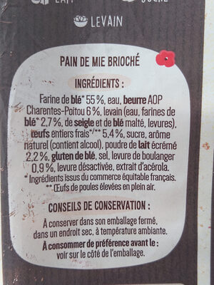 Pain de mie Façon Boulanger 500g - Ingredienti - fr
