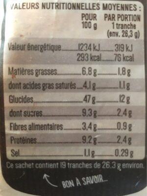 Pain de mie Façon Boulanger 500g - Valori nutrizionali - fr