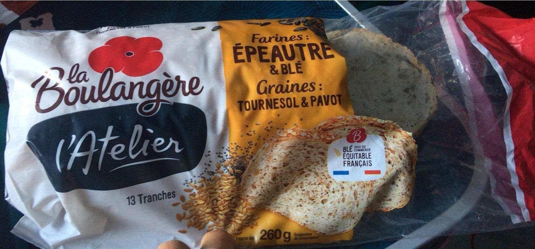 L'Atelier à la farine d'Épeautre & Blé, graines de Tournesol et Pavot - 260g - Prodotto - fr