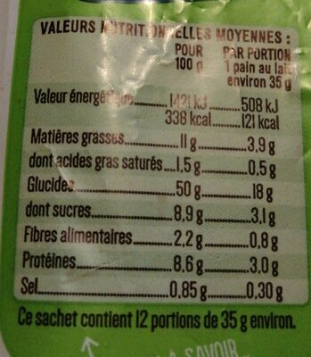 12 Pains au lait BIO - 420g - Valori nutrizionali - fr