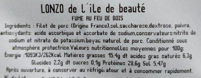 Lonzo de l'ile de beauté - Ingredients - fr