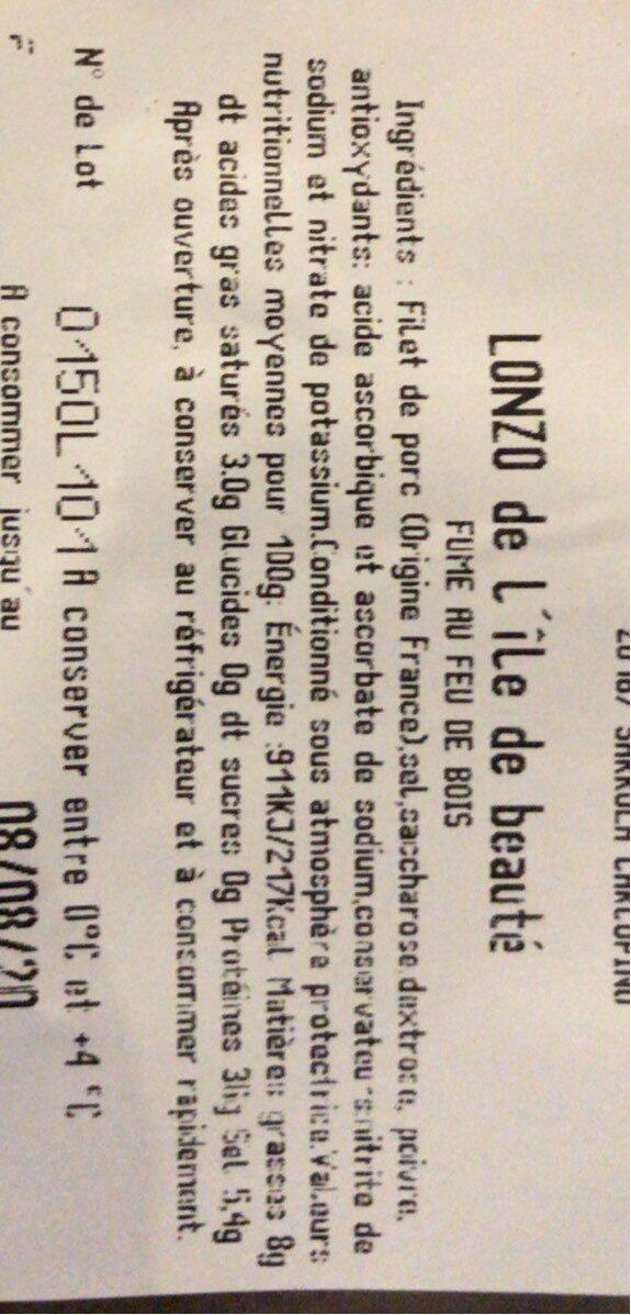 Lonzo de l'ile de beauté - Nutrition facts - fr