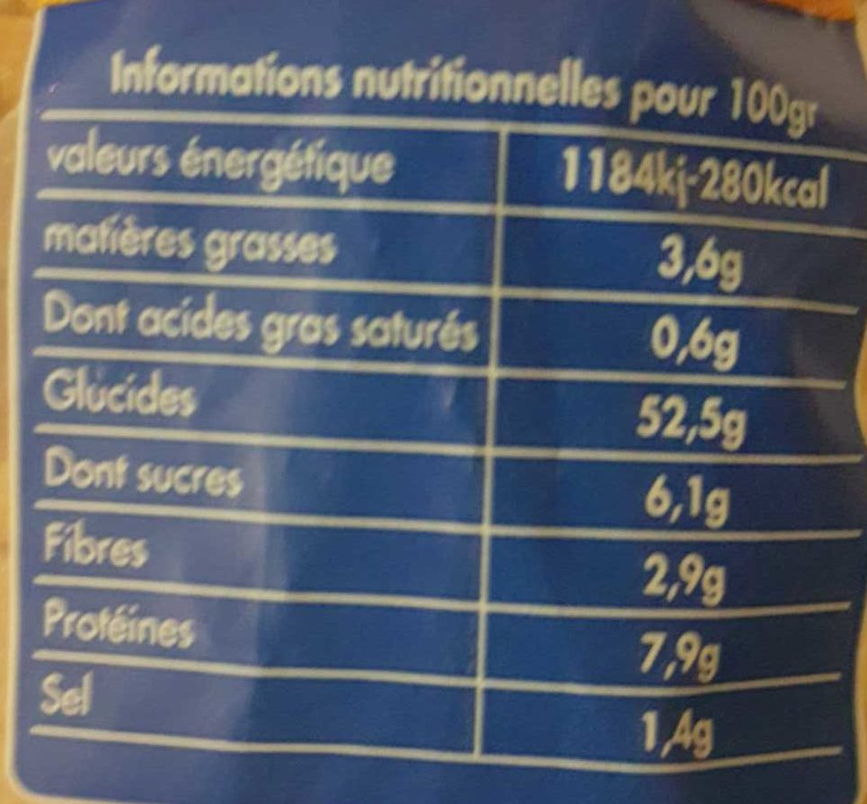 Le nature - Nutrition facts - fr