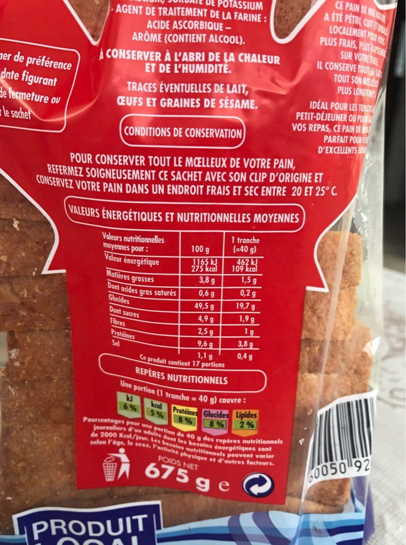 Canadian Sandwich Nature - Informations nutritionnelles - fr