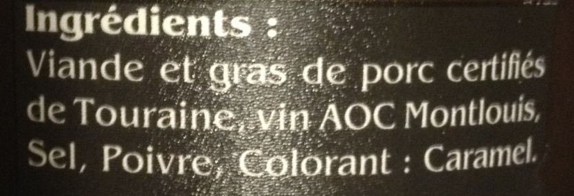 Rillettes de Tours - Ingredients