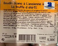 Boudin blanc a l'ancienne a la truffe d'été - Ingrédients - fr