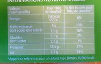 Le Kebab Lamelles - Informations nutritionnelles - fr