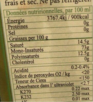 Huile d'olive kalamata - Informations nutritionnelles - fr