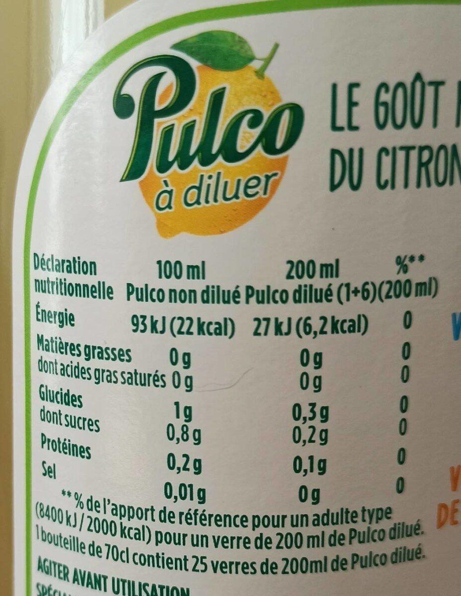 Pulco à diluer - Citron Vert Sans sucres Ajoutés - Voedingswaarden - fr