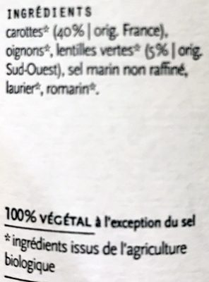 Soupe aux Lentilles et Carottes - Ingredients
