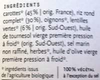 Riz lentilles et carottes - Ingrediënten - fr