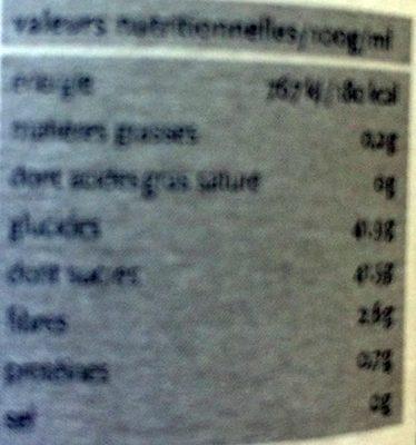 Confiture extra de fruits des bois à la vanille - Informations nutritionnelles