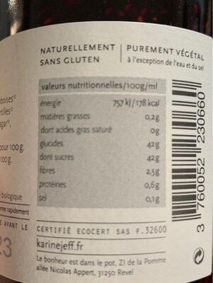 Confiture extra de fruits des bois à la vanille - Informations nutritionnelles - fr