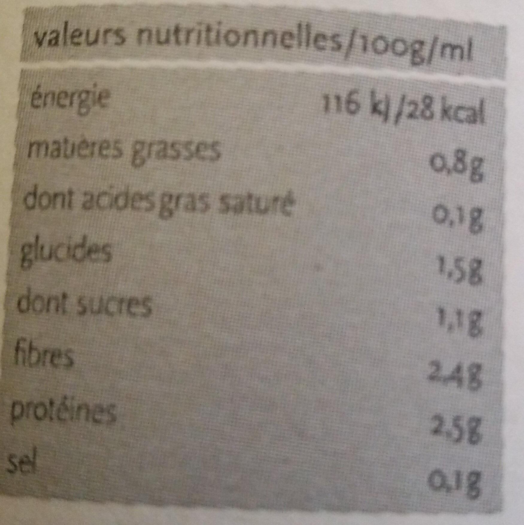 Mousseline de Brocoli - Informations nutritionnelles - fr