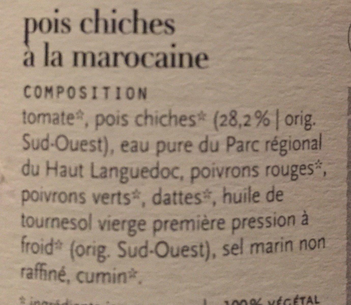 Pois chiches à la marocaine - Ingredienti - fr