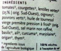 Lentilles à la provençale - Ingrediënten - fr