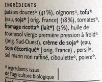 Fondant de Patates Douces, Tofu et Ricotta - Ingredients