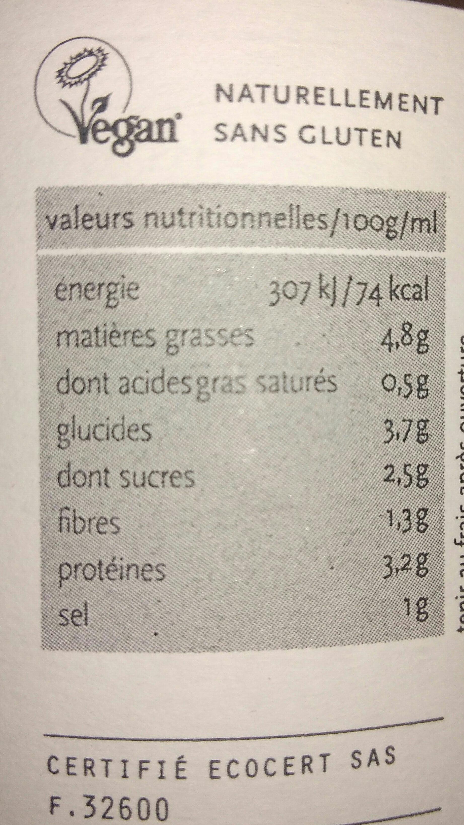 Cocotte de tofu à la mangue - Voedingswaarden