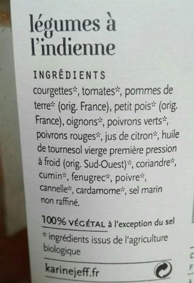 Légumes à l'indienne - Ingredients