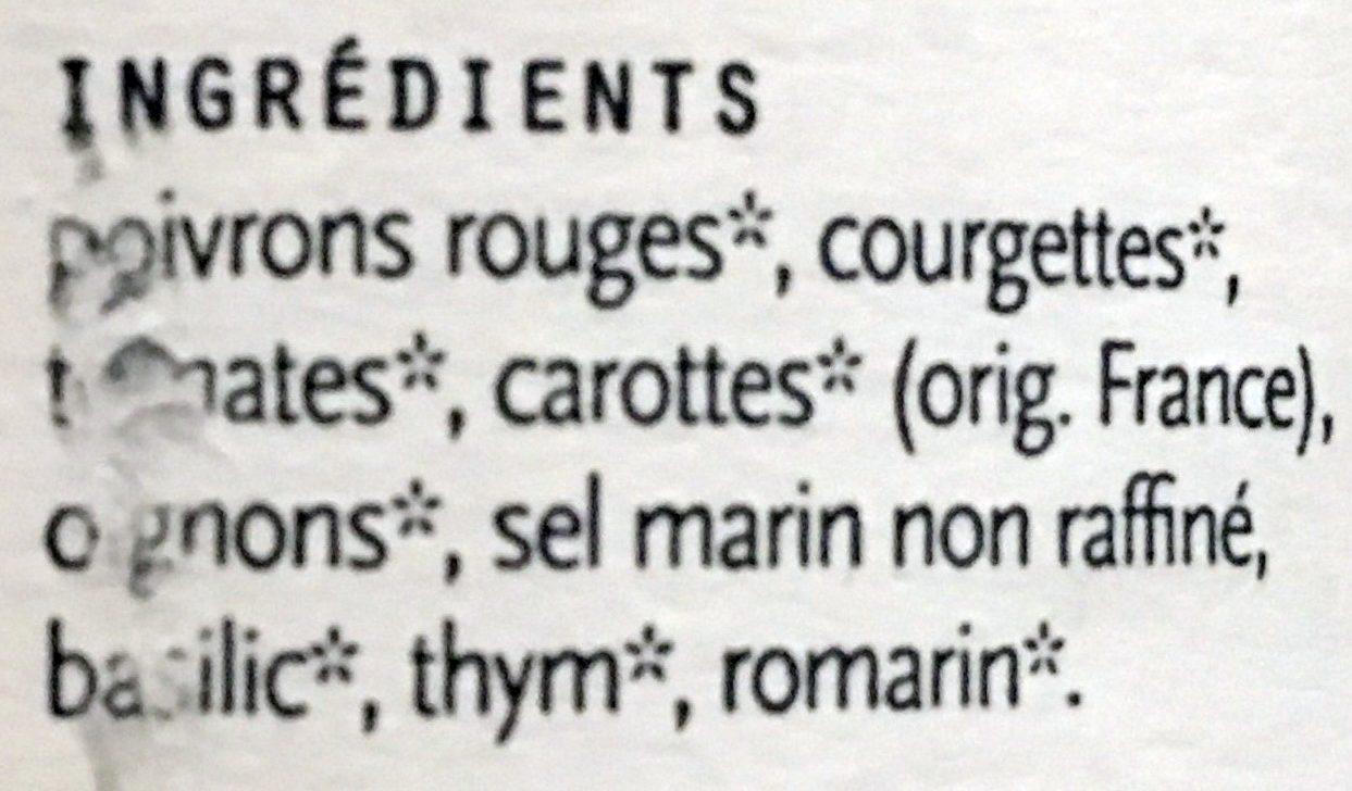 Soupes Bio - Ingredients - fr
