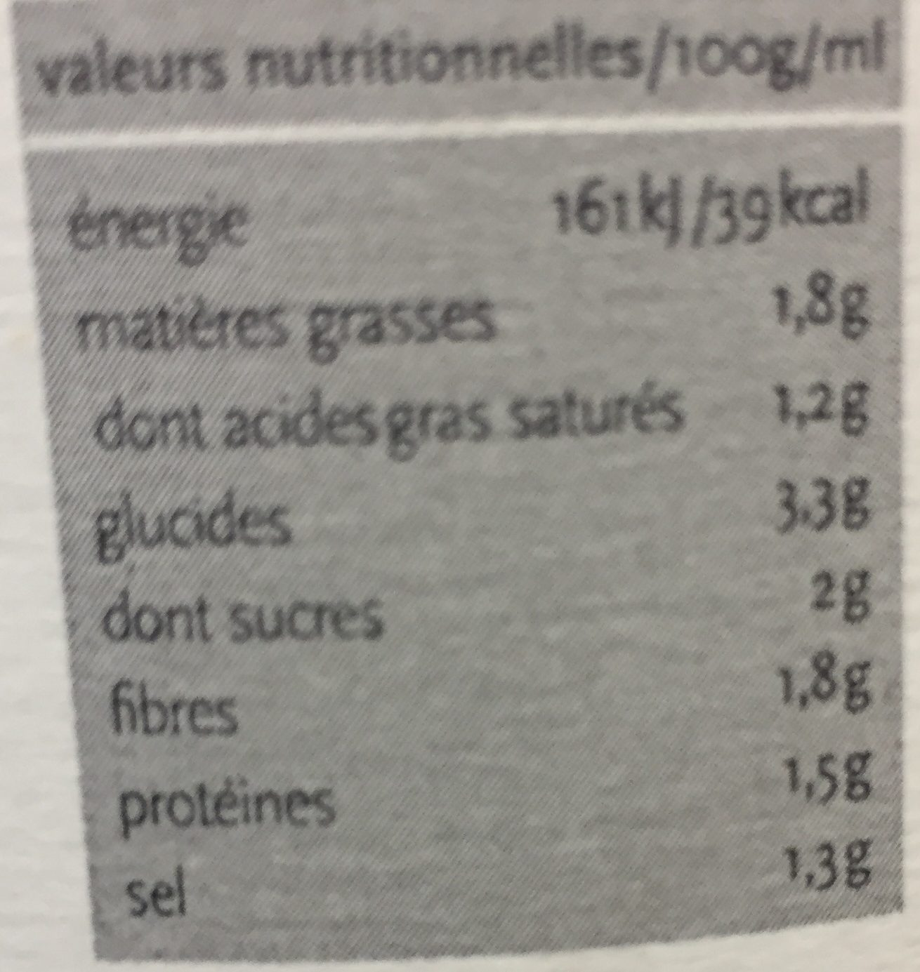 Soupe Thaï - Informations nutritionnelles