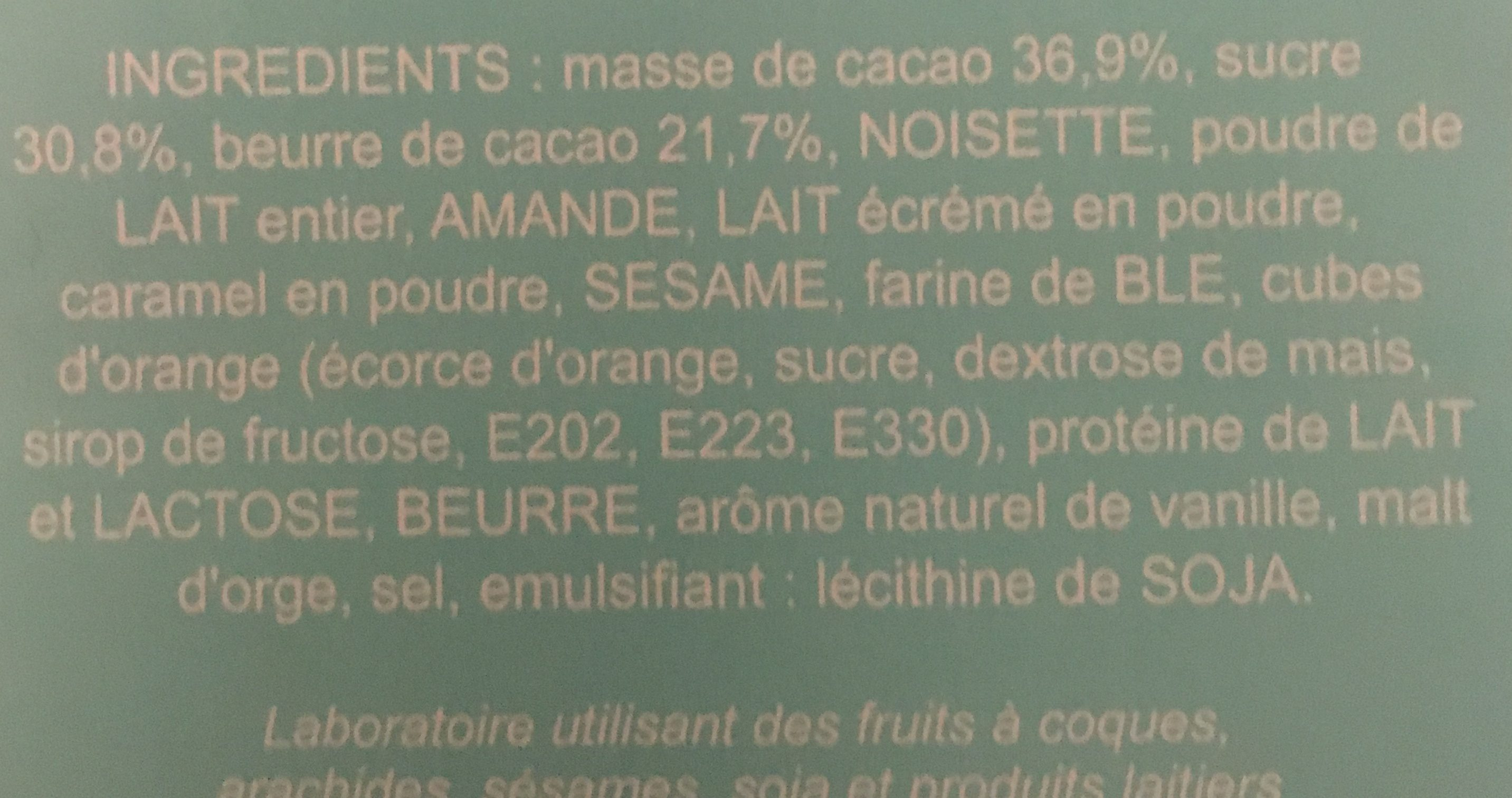 Chocolat noir et lait - Ingredients