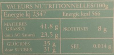 Chocolat noir et lait - Nutrition facts