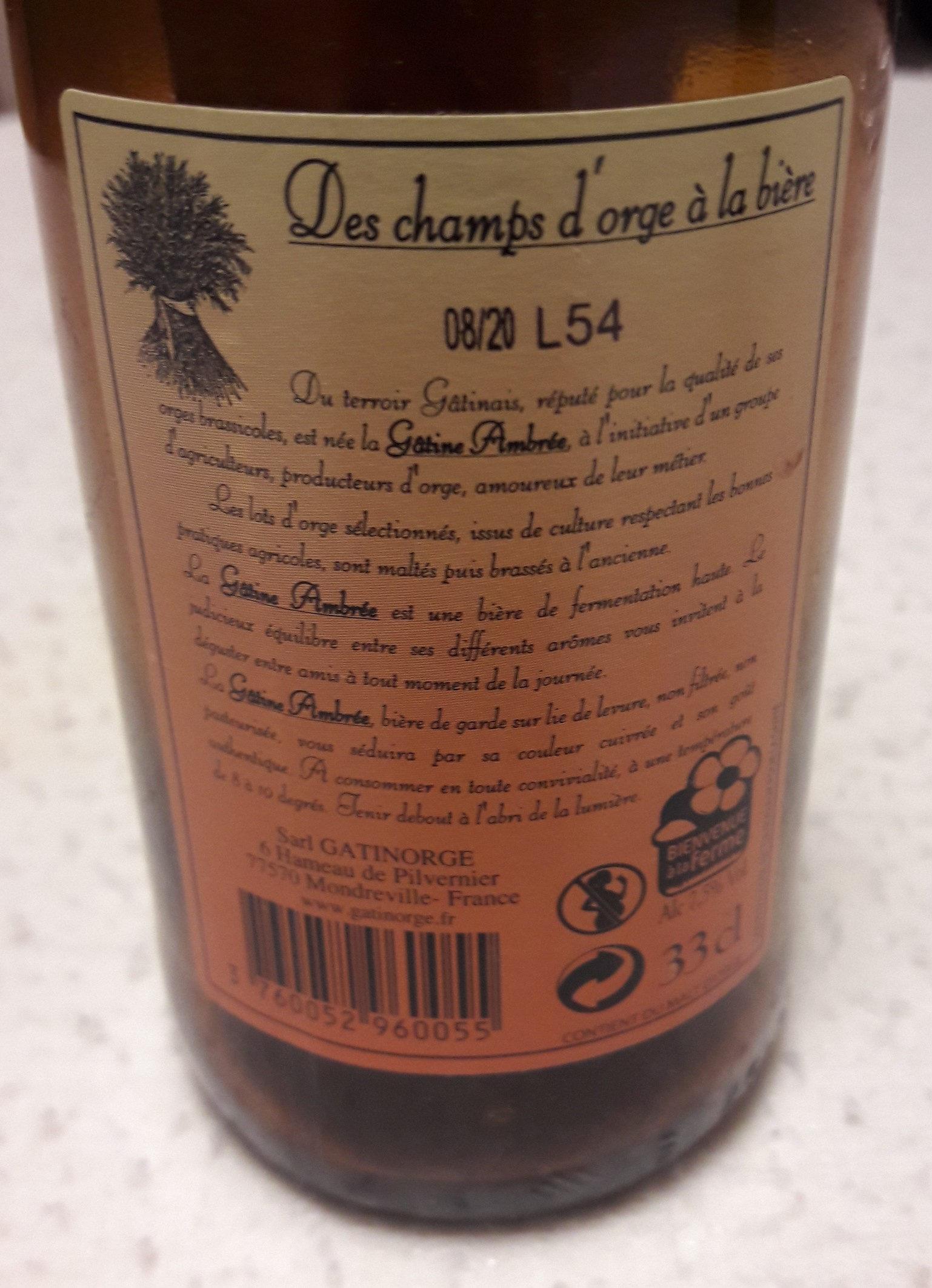 Bière Ambrée brassée à l'ancienne - Ingrédients