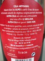 Alpen cola - Nährwertangaben - fr