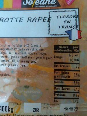 Carotte rapee premium - Informations nutritionnelles - fr