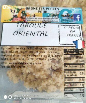 Taboule Oriental a lhuile d'olive - Informations nutritionnelles