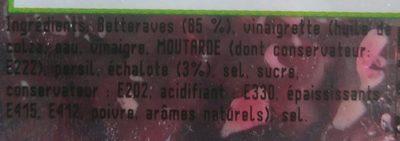 BETTERAVE ROUGE EN VINAIGRETTE - Ingredients - fr