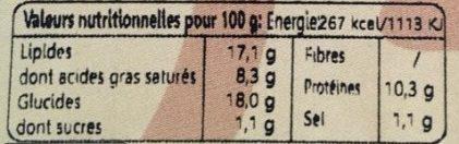 Tartelette Fromagère - Nutrition facts