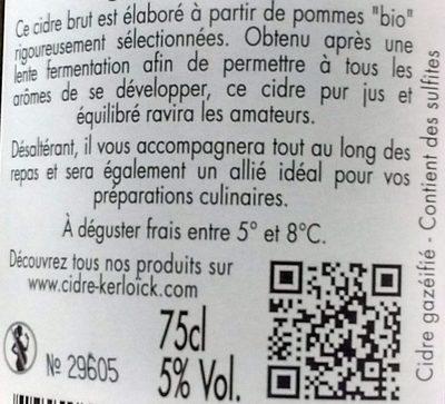 Cidre Bio Brut (5%) - Ingredients
