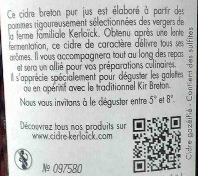 Cidre fermier Breton Brut (5%) - Ingredients