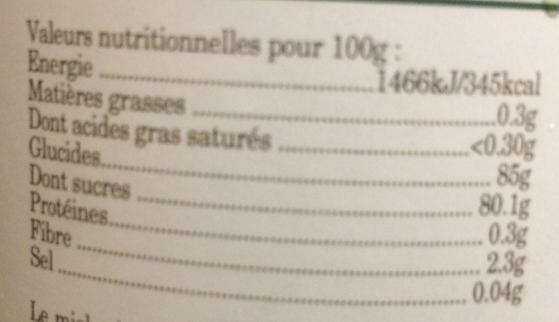 Miel des Pyrénées - Voedingswaarden - fr