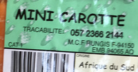 Mini Carotte - Ingrédients - fr